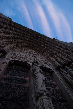 Entrance of Notre Dame at Twilight