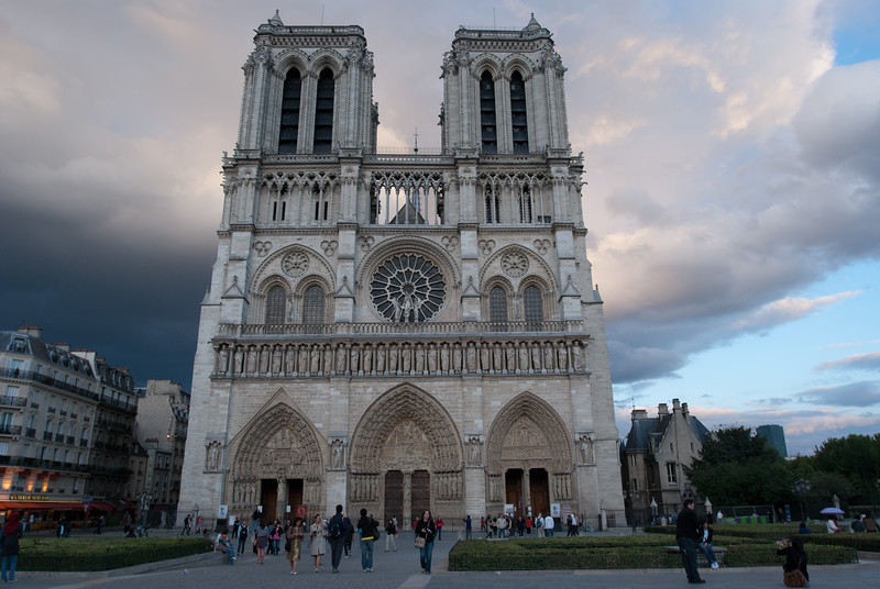 Notre Dame Cathedral Paris France Colorful sky at Sunset