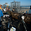 Tired travelers hop the ferry in Sausilito