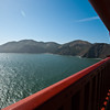 View of Marin headlands from mid-bridge