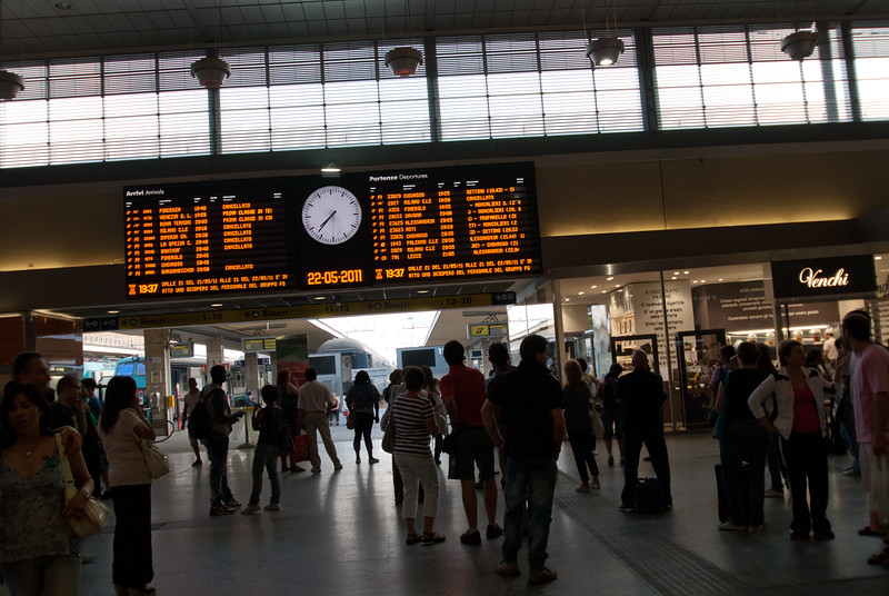At the Torino train station and on time