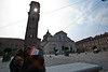 The well traveled backpack in front of San Giovanni Battista cathedral