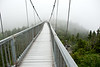 Swinging bridge on a foggy day