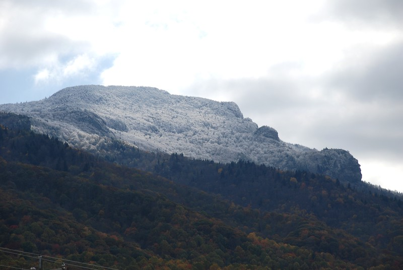 Snowy faced profile of Grandfather Mountain