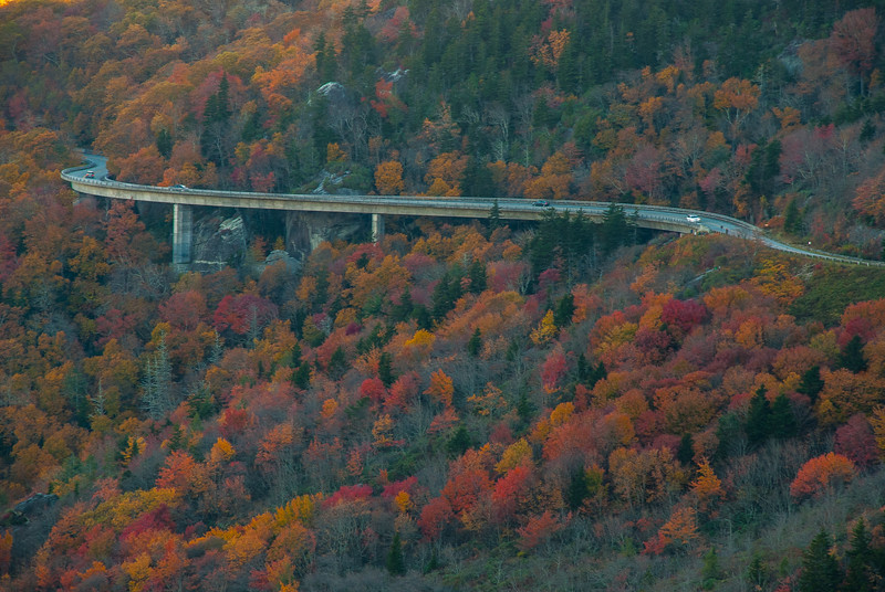 Linn Cove Viaduct, wonderfully  engineered to avoid ruining the beauty of GrandFather Mountain. Kudos to Figg and Muller Engineers, and the vision of Hugh Morton