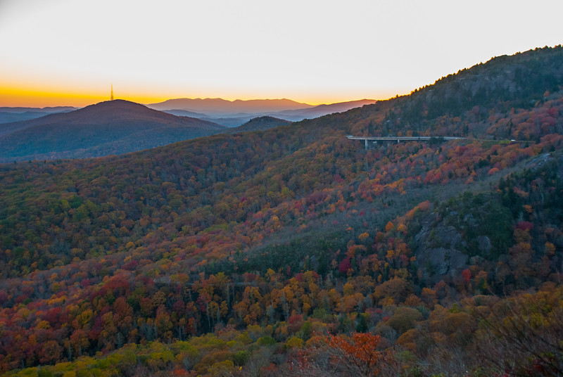 Linn Cove Viaduct, and Grandmother Mountain in late October at dusk