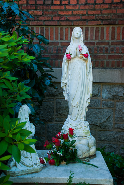 Basilica Shrine of St Mary, Wilmington, NC, on the right side of the Basilica, is a small prayer garden