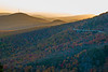 View of Grandmother Mountain and Linn Cove Viaduct from Rough Ridge Overlook at sunset in late October