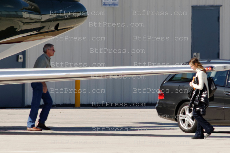 Harrison Ford, Calista and Liam take off with Harrison's jet from Santa Monica airport to San Francisco for the weekend.