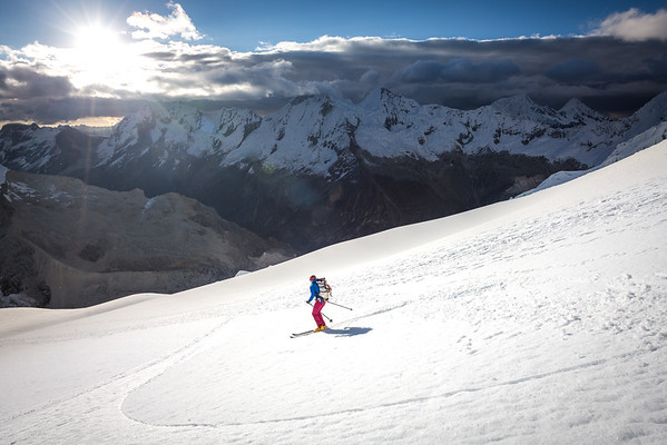 Janelle skiing Pisco in the sunset