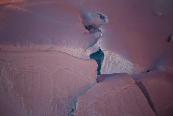 Alpine glow on the Alpamayo glacier