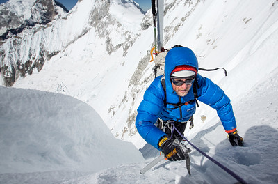 Jed Porter topping out on the access couloir