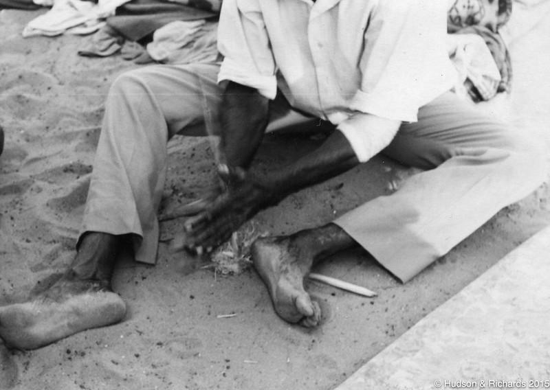 Tirrpajanurra  (Bertie Williams) making fire with Kungkala (firesticks) 3, 1970