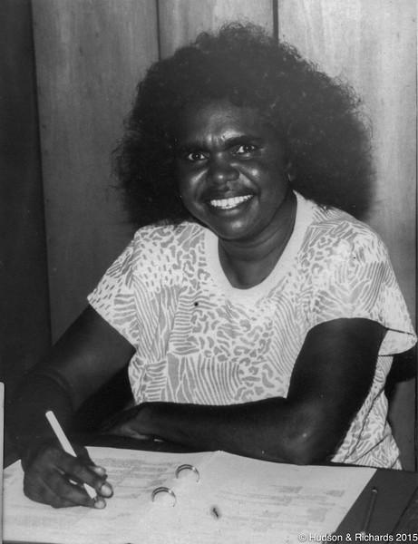 Kankuwa (Olive Knight) checking draft of Walmajarri Dictionary 1988