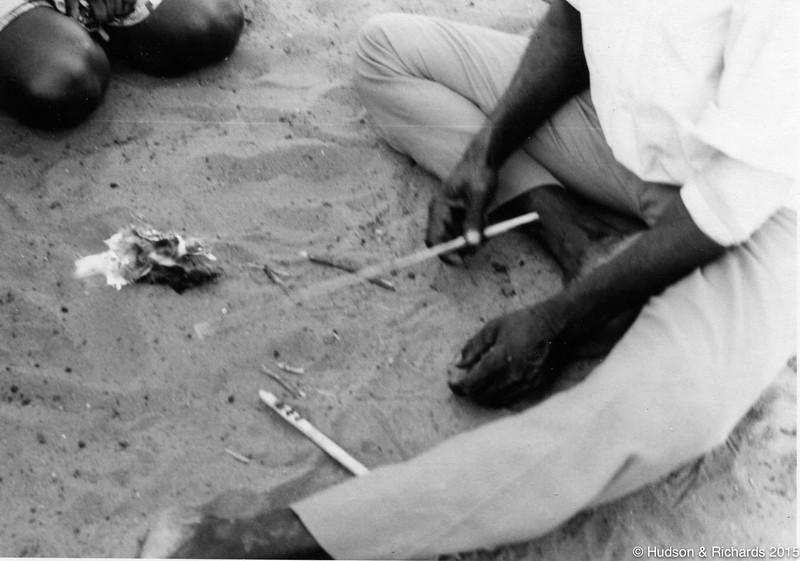 Tirrpajanurra  (Bertie Williams) making fire with Kungkala (firesticks) 4,  <br /> 1970