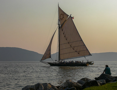 The Hudson river Sloop Clearwater on a late afternoon sail during the Clearwater Festival at Croton Park.