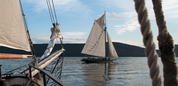 The Hudson River Sloop Clearwater as seen from the bow of the Mystic Whaler on an evening sail during the Clearwater Festival.