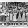 Hugh Goodwin - 1st Grade - Mrs Hogg<br /> <br /> 1st Row - Johanna Pinson, Penny Garrett, Dorothy Thibault, Mary Beth Williams, ?, ?, ?, Mary Beth Doss<br /> 2nd Row - Corky Crawford, Cy Robinson, ?, Bill Landers, Carolyn Kinard, David Strother, Elliott Atkinson, ?, Stuart ?<br /> 3rd Row - Mrs, Hogg, Bruce Allen Anthony, ?, ?, Ronnie Bond. ?, ?, ?, ?<br /> <br /> Class picture 1948 - 49