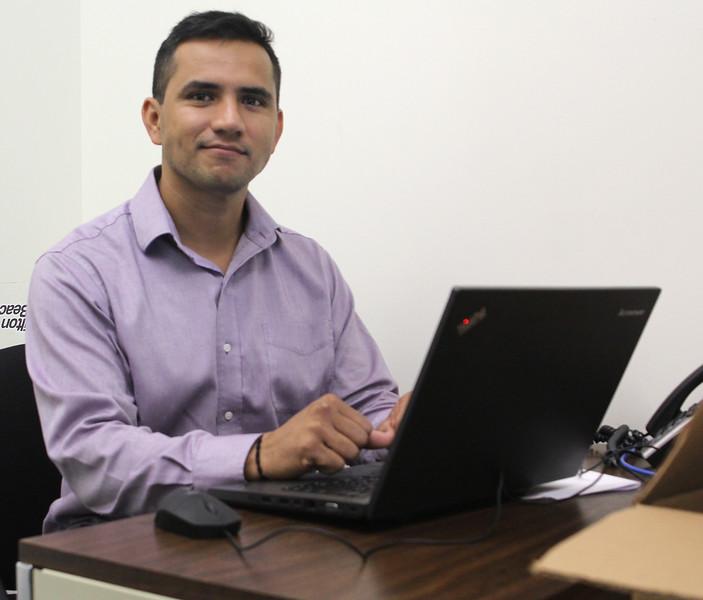 Lynn, Ma. 9-18-17. Hugo Carvajal working at KIPP.