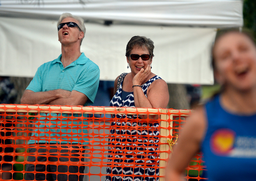 . Broomfield residents Greg and Diane Blanchard react to a goal while watching two teams play human foosball during the Broomfield Chamber of Commerce\'s annual member appreciation picnic on Thursday in Broomfield. For more photos of the human foosball game go to dailycamera.com Jeremy Papasso/ Staff Photographer 08/02/2018