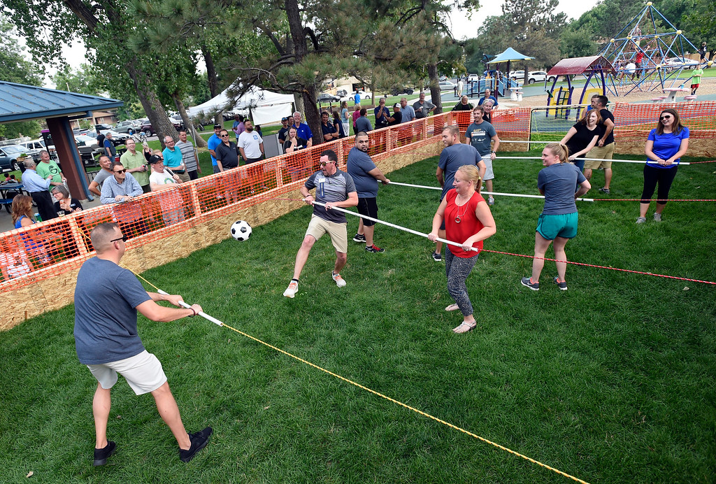 . Two teams compete in human foosball during the Broomfield Chamber of Commerce\'s annual member appreciation picnic on Thursday in Broomfield. For more photos of the human foosball game go to dailycamera.com Jeremy Papasso/ Staff Photographer 08/02/2018
