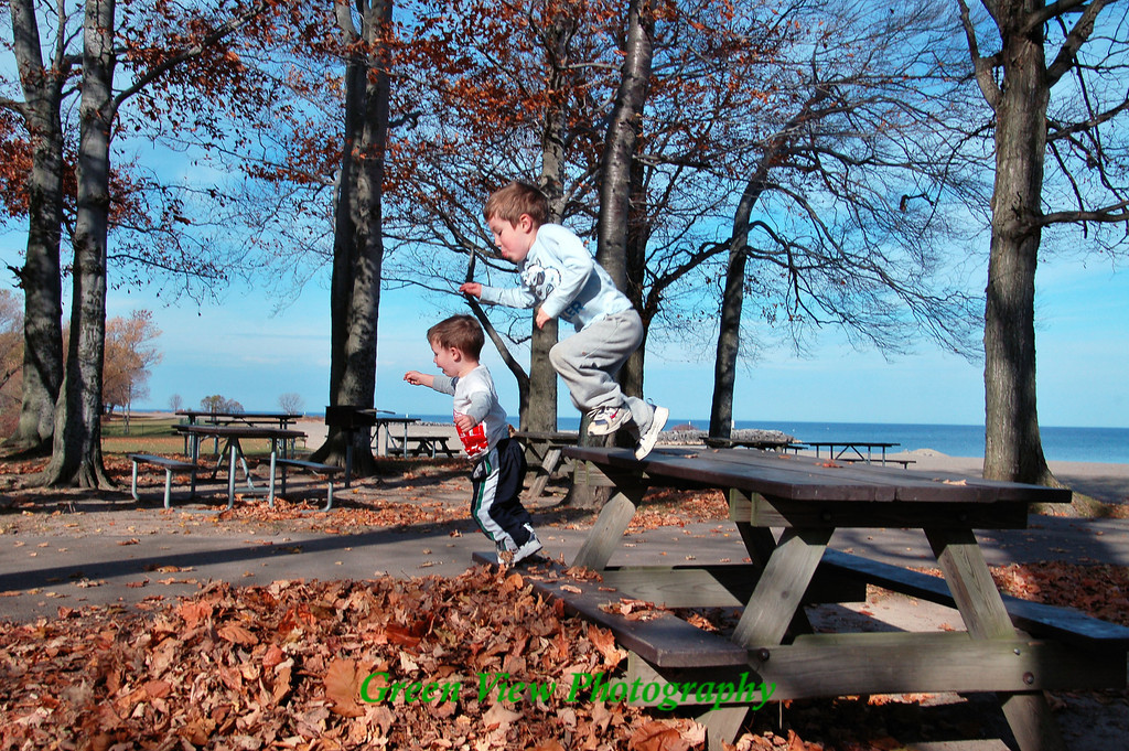 Jumping in the leaf pile at Hamlin Beach -- in November!!!