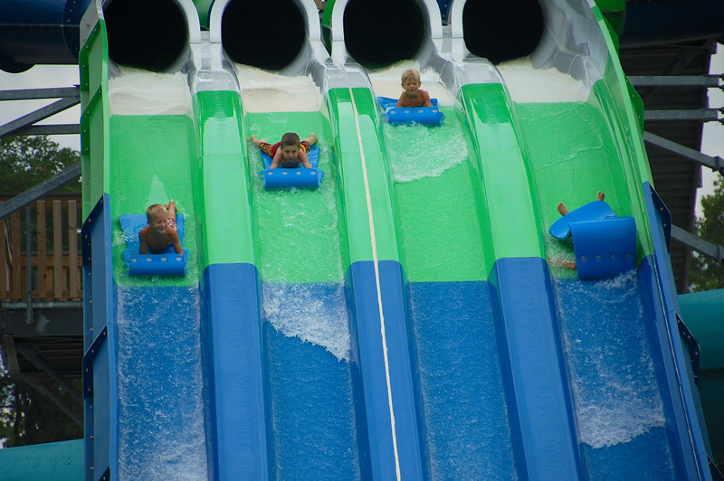 Oops, flipped over on the water slide