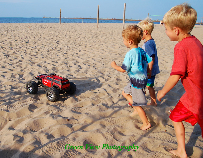 Chasing the Dune Buggy at Charlotte Beach