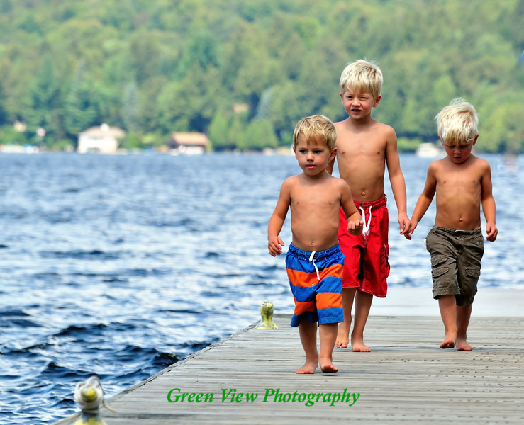 Brothers - Walking along the dock at Fourth Lake, Adirondacks