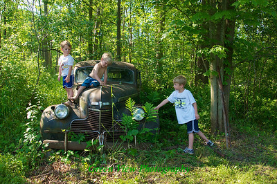 Checking out the old car