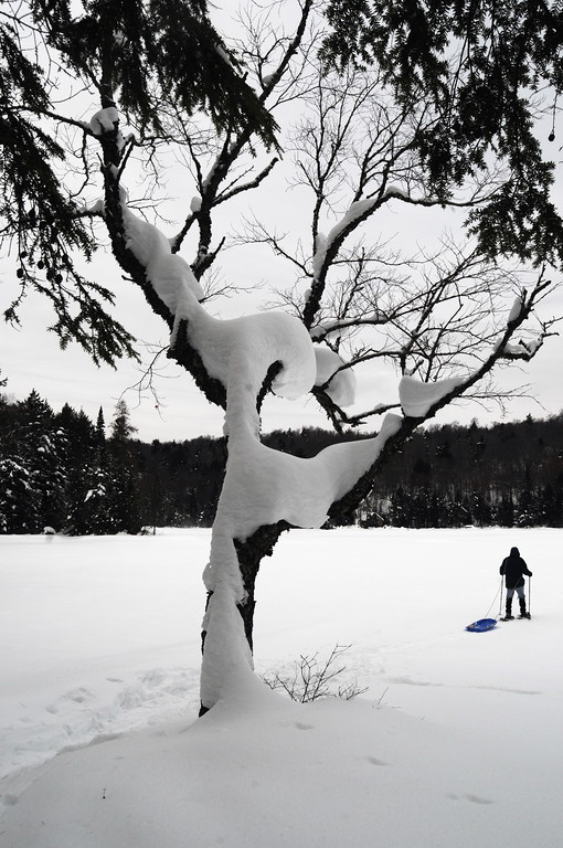 Snow Shoeing across the frozen lake