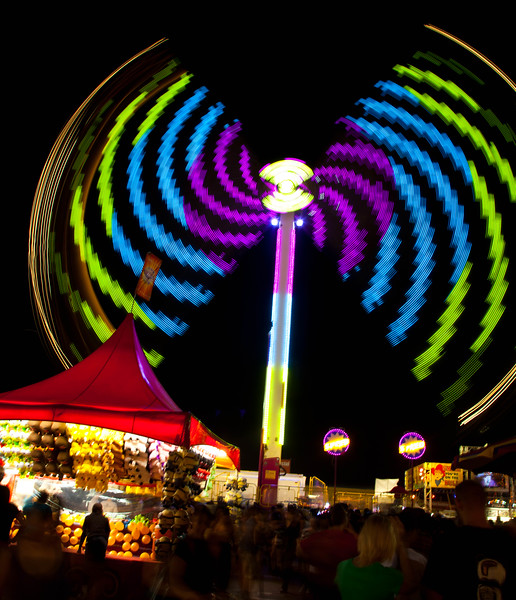 This high speed ride was at the 2011 Arizona State Fair.  It was too fast for me, but I did enjoy photographing it.