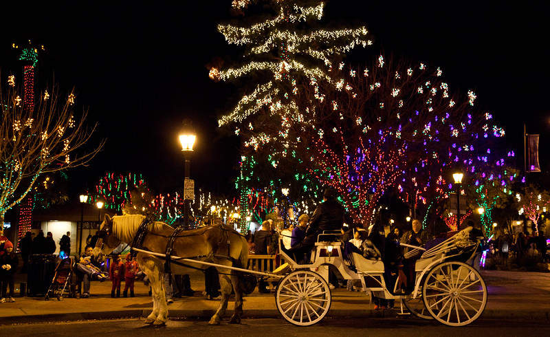 From Glendale Glitters in 2011.  This horse drawn carriage was very popular.  Over a million lights covered 16 blocks of Glendale, Arizona.