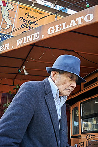 Elderly Man in the North Beach Section of San Francisco, which is gradually changing from an Italian to a Chinese demographic, 1/15/17