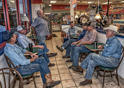 Farm boy enjoying morning coffee, Mart, Texas