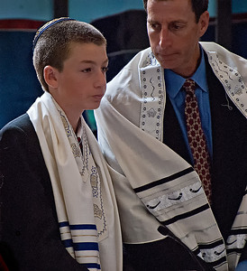 Father and Son at Son's Bar Mitzvah Service - Los Gatos, CA