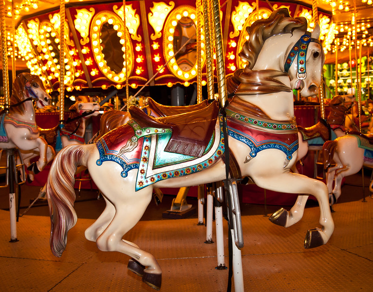 A colorful carousel horse at the 2012 Arizona State Fair.