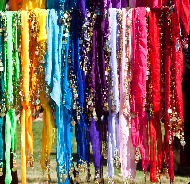 Colorful scarves and bling for sale at the 2012 Renaissance Festival
