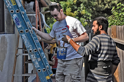 South Bay Christians, Muslims & Jews, working together through Abrahamic Alliance International, paint a home for Habitat for Humanity on 6/5/16 in East San Jose