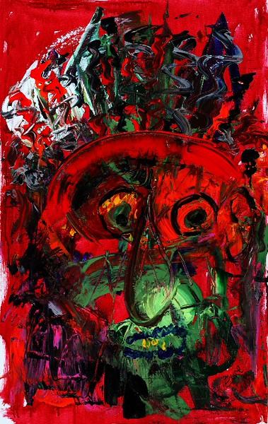 """Medicine Man"" (acrylics) by Elaine Rexdale"