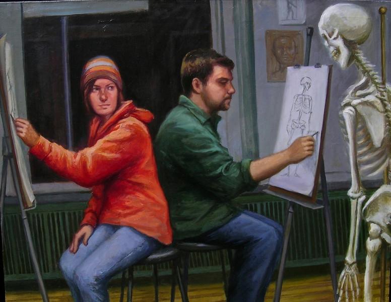 """""""La Muerte: Night Class"""" (oil paint on Belgian linen) by Lydia Martin"""