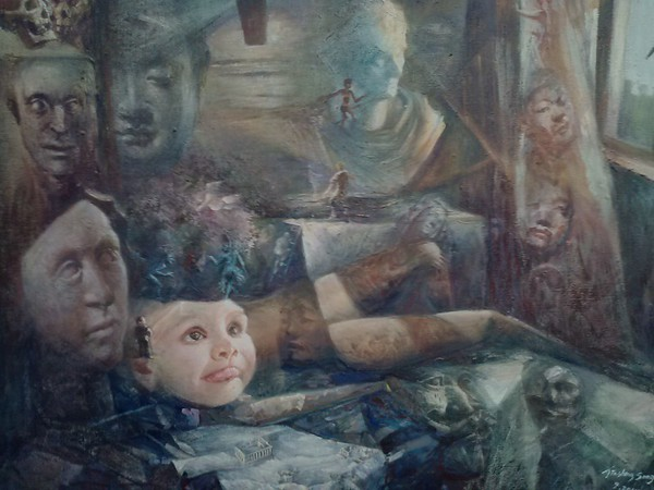 """The being told story"" (acrylic) by Jinsheng Song"
