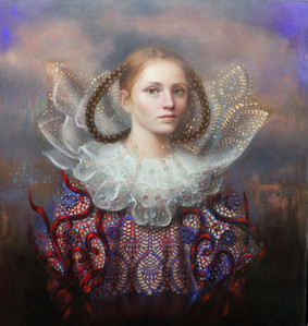 """Muse"" (oil and gold leaf on canvas) by Loretta Fasan"