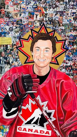 """""""Saint Gretzky"""" (collage colour pencil) by Steven Hart"""
