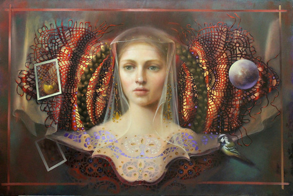 """Kin"" (oil and gold leaf on canvas) by Loretta Fasan"