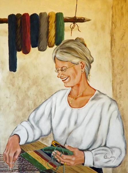 """""""Weaver"""" (oil on canvas) by Carl Owen"""