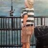 """Lonely Fisherman in Striped Shirt"" (oil) by Michele Guttenberg"