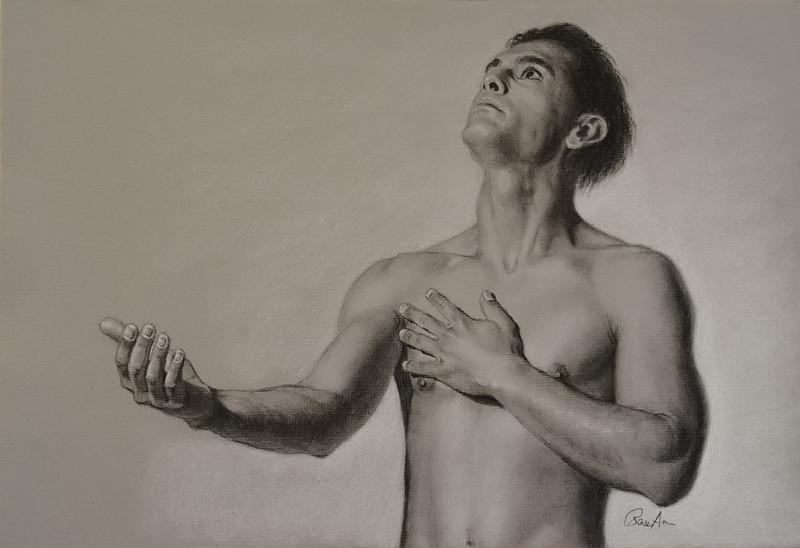 """Heart"" (charcoal/pastel) by Rose Ann Bernatovich"