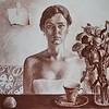 """self-portrait"" (pastel, paper, tempera) by Alexandra Kalinicheva"