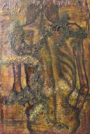 """Starving"" (mixed media on canvas) by Subha Chaudhuri"